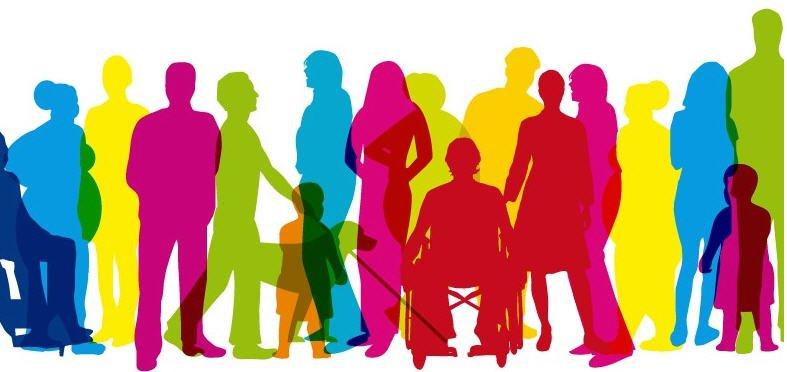 Ilustración de personas diversas de distintos colores
